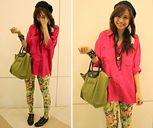 Bea Benedicto - Shoestruck Mesh Oxfords, Baguio Black Beanie, Polo Hot Pink, Hong Kong Hologram Leggings, Longchamp Olive Green Bag, Top Avenue White Feather Earring, Random Necklaces, Batman Necklace - Hologram Girl