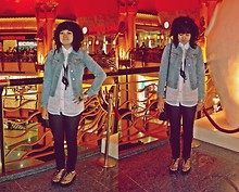 Aimi Baharin - Gap Jacket Jeans, Unbrand Blouse, Topshop Skinny Denim, T.U.K Shoes Leopard T>U>K - Summer Hot Summer