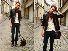 Pierre Colpart - San Marina Boots, Zara Leather Jacket, Zara Bandana, Asos T Shirt, Esprit Black Jean, Asos Leather Bag - 4th Dimension