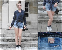 Polly Dayton - Warehouse Ditsy Floral Print Blouse, Levi's® Vintage Levi Shorts, Warehouse Small Chain Bag, Topshop Brogues - Levi