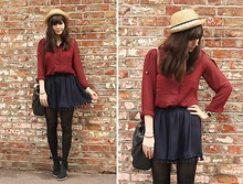 Sarah B - Burgundy Blouse, Navy Pom Pom Shorts - Burgundy & Navy