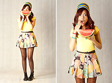 Gela Muñoz - Reese Marching Band Hat, Forever 21 Yellow Shirt, Mum's Teenage Closet Old Skirt, Topshop Heart Stockings, Dainty Shop Combat Boots - Reese's Band Hat and A Watermelon