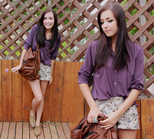Breanne S. - Romwe Brown Backpack, Forever 21 Floral Shorts - Purple haze