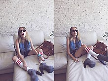 Isabella Rakonić - Hand Made Cross Ring, American Apparel Socks, Levi's® Studded Shorts, H&M Short Shirt, Jeffrey Campbell Shoes Lita, Mulberry Bag - Abbey Lee Inspired Hair