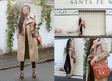 Micah Gianneli - Mania Statement Necklace, Vintage Trench Coat, Vintage Fur Pelt Shrug, Vintage Shirt, Cheap Monday High Waisted Jeans, Jeffrey Campbell Foxy Platforms, Vintage Mexican Tooled Leather Bag With Saddle - Revival
