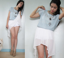 N C - Sheer Blouse, Sheer Chiffon Self Made Skirt, Tiered Lace Shorts - Straight and Fast