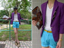 Edward Poon - Zara Blazer, Izzue + Sui Leopard Clutch, Zara Yellow Belt, H&M Shorts, Zara Oxford Shoes - Color play