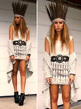 Nicola Kirkbride - Miss Selfridge Skirt, Topshop Belt, Gap Cardigan, Topshop Top - Feather Head