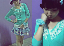 Hannah Villapando - Truffy Blue Green Cardigans, Girlshoppe Light Blue Bracelet/Pony, Girlshoppe Polka Bow Headclip, Floral Denim Skirt - Thinking of Something. . .