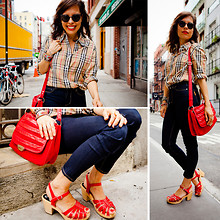 Jennine Jacob - Burberry Nova Check Blouse, Paul & Joe Red Bag, H&M Red Sandals, Paige High Waisted Skinny Jeans, Super Round Sunglasses - Ode to Matchy Matchy