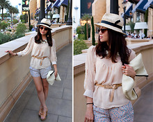 Fashion Infusion - Diy Oversized Clutch, Urban Outfitters Mini Floral Scallop Hem Shorts, Zara Straw Fedora Hat - Little dreamy world