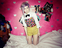 Kayla Hadlington - Cow Vintage Shirt, Charity Shop Velvet Bow Tie, Select Pink Flowery Top, Primark Belt, Diy Shorts - They wanna sell it, buy it up, dumb it down