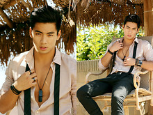 Yoshi Sudarso - Armani Exchange Desert Rose Button Up, Ring, Ring, Aldo Black Dogtags, Aldo Skinny Black Gloss/Matte Stripe Tie, H&M Skinny Black Jeans - Spinning at the speed of sound