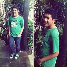 Andre ∞ - Giordano Basic, Peter Says Denim, Converse Chuck Taylor - Green is better