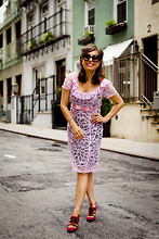 Jennine Jacob - Betsey Johnson Pink Lace Dress, Prada Round Sunglasses, Tracy Reese Pink Lace Up Pumps - Pink Lady