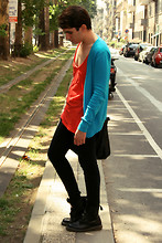 Marco M. - Revolution Bright Light Blue Cardigan, Zara Bright Orange Tank Top, Cheap Monday Black Very Stretch Skinny Jeans, Dr. Martens Doc Boots - Take the call before it's too late!