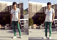 BRIAN KIKWAI - Zara Slogan Tee, Green Pants - YOU KNOW THAT'S WHAT I'M THINKING