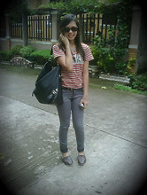 Lourie Calope - Printed Shirt, Gray Pants, Toms Flat Shoes - Ordinary school girl on Wednesday.