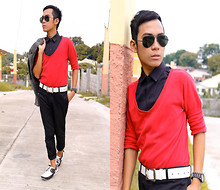 ChristianaceLM Magbuhos - Gap Red V Neck Longsleeve, Archives Black Pants, Archives Blazer, Brian Evalle Black Polo, Ray Ban Shades - On the street