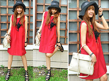 """Attiya_"" D - Old Hand Dress Red, I Like It Bag Shopping, Old Hand Hat, Cps Necklace, Black Style Shoe - Chill Of Red At Graden -))"