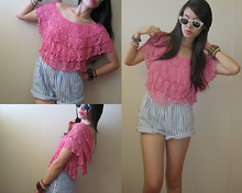 N C - Random Tiered, Crochet Top, Folded And Hung Wayfarer Sunglasses, High Waisted, Striped Denim Shorts - Haiku