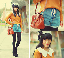 Connie Cao - Kani Studded Bow Beret, Romwe Collar, Vintage Jumper, Romwe Lace Up Shorts, Vintage Bag, Asos Wedges - COLOUR BLOCK