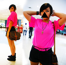 Ish Manuelle - Grandma's Closet Hot Pink Shoulder Padded Blouse, Mic Cross Necklace, Pink Mnl Studded Belt, Thrifted Black Old Shorts, Korean Brand Black Suede Boots - Warheads. ▼