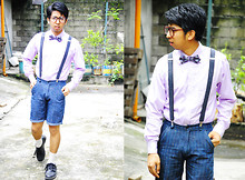 Reyner Cadapan - Armando Caruso Purple Checkered Bow Tie, G2000 Purple Longsleeve, Striped Shorts, Clarks Black Leather Shoes, Gray Wool Suspender - PLANTS