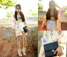 Olivia Lopez - 3.1 Phillip Lim Shorts, Jelly Watch, Alexander Wang Dakota Boots, Vintage Floral Blazer - Florals and Fruit