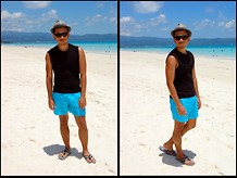 Armel M. - Zara Straw Hat, Bench Sleeveless Shirt, Speedo Swim Shorts - Sunshine and blues