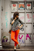 Jennine Jacob - J Brand Orange Jeans, C&C California Cheetah Print Blouse, Pendleton Tribal Bag, The Kooples Scull Stud Ballet Flats - Orange you glad I didn't say banana?