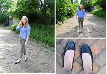 Alison V. - Old Navy Gingham Button Down, Old Navy Cropped Khakis, H&M Black Flats - Summer day/my poor shoes