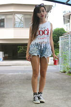 YUKI KA - Fringed It, Levi's® Diy Ripped Levi's Shorts, Diy Painted, Studded Shoes - Diet Cock
