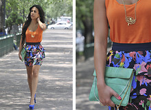 Gina Ortega - H&M Floral Skirt, Zara Orange Blouse, Vintage Clutch, Yves Saint Laurent Electric Blue Shoes - THE Skirt