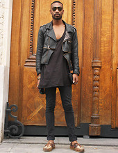 Sébastien Nabu - No Brand Bateau/Boat., The Kooples Skinny Jean, H&M Marcel/Shirt, Antagoniste Perfecto By Me, Ray Ban Vintage Aviator - Paris Men's fashion week: day two.(for Grazia)