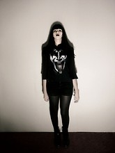 Sally Roussó - Dark Blazer, Kiss Rock T Shirt, Square Legs, Dr. Martens Clasic Boots - Portrait of Ruin