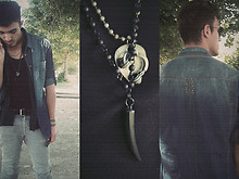 Rui Braga - Circle Sunglasses, Denim Shirt, Vintage Black Shirt, Pull & Bear Rolled Up Skinny Jeans, H&M Black Tank, Vintage Black Belt, H&M Necklace - Black & Denim.