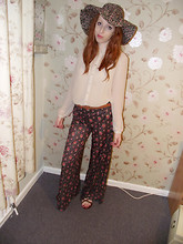 Charlotte Kinsella - Floral Hat, Cream Blouse, Floral Wide Legged Pants, Brown Leather Sandals - I'm looking through you, where did you go?