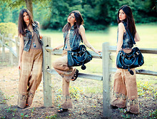 Erika Marie - Guess? Denim Vest, Palazzo Pants, Matiko Wedges, Paddington Bag - Palazzo Pants