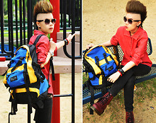 "Kuru_Design S. - Old Hand Backpack Colourful, Cps Accessories Leather, Lacoste Jacket, Sunglasses, Dr. Martens Boot Favorite - Trip funny ""Backpack"""