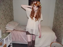 Charlotte Kinsella - Cream Blouse, Brown Shorts, Brown Knee Length Socks - So i set fire to our bed.