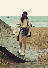 Kitty B - American Flag Shorts, Primark White Plimsols, Mum's Wardrobe Vintage Satchel, Topshop Cape Top, Red Retro Sunglasses - Brighton Rock