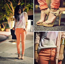 Jenny Ong - Natural Super 'Monumental' Tee, H&M Skinnies - Peachy hues