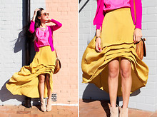 Nicole Warne - Gary Pepper Vintage Cardigan, Gary Pepper Vintage Top, Cameo The Label Fishtail Skirt, Asos Boots, Vintage Bag - Candy Lane.