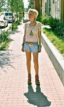 Casey Russell - Forestwood Antiques Antique Lace Top, Under Shirt, Blue Shorts, Braided Belt, Jeffrey Campbell Litas - Pretty Pastels