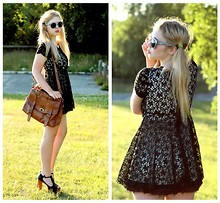 Amanda Brohman - Romwe Lace Bow Dress, H&M Retro Sunglasses, Wera Satchel, Jeffrey Campbell Shoes - Bewitching Sunset