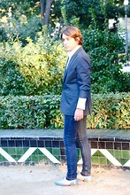 Abraham Herrero Ros - Prada Blazer, Cheap Monday Jeans, Vintage From Stockholm Shoes - Blue simple outfit