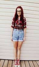 Danielle F - Stitches Plaid Shirt, Goodwill High Waisted Denim Shorts, Converse High Tops - Life Goes On.