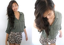 Amy P. - Cotton On Robinhood Button Down, Leopard Print Shorts - I wanna hit rewind, playback a hundred times