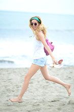 Chiara Ferragni - Christian Louboutin Sandals, Balenciaga Bag, Hermës Hermes Carré - At the sea